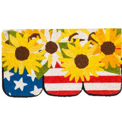 Alwin Stars and Stripes Jars Shaped Coir Doormat