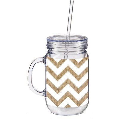20 oz. Burlap Chevron Double Walled Mason Jar Insulated Cup with Straw 3BK127