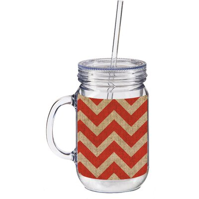 20 oz. Burlap Chevron Double Walled Mason Jar Insulated Cup with Straw Color: Orange 3BK129