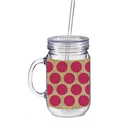 20 oz. Burlap Polka Dot Double Walled Mason Jar Insulated Cup with Straw 3BK133
