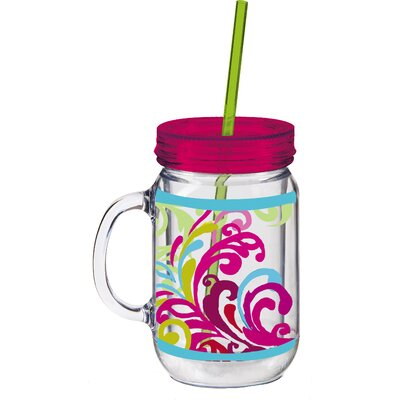 20 oz. Floral Flow Double Walled Mason Jar Insulated Cup with Straw 3BK142