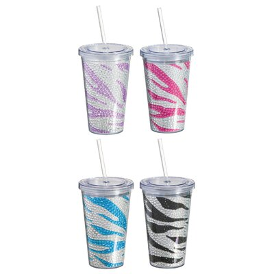 Bedazzled Zebra Plastic Bling Cup 3BD1327