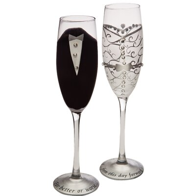 2 Piece Handpainted Bride and Groom Champagne Set