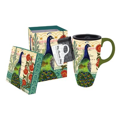 Proud Peacocks 17 oz. Boxed Ceramic Latte Travel Cup 3LTM4185
