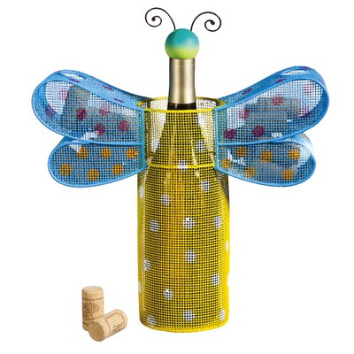 Polka Dots Dragonfly 1 Bottle Tabletop Wine Rack