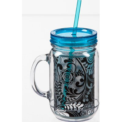 Dark and Stormy 20 oz. Double Walled Mason Jar Insulated Cup with Straw 3BK5963