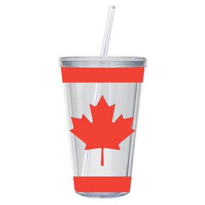 17 oz. Canadian Maple Leaf Insulated Cup with Straw 3BD5192