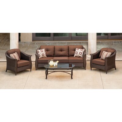 Gramercy 4 Piece Deep Seating Group with Cushions Fabric: Brown