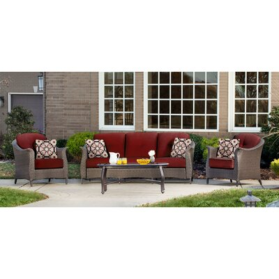 Gramercy 4 Piece Deep Seating Group with Cushions Fabric: Red