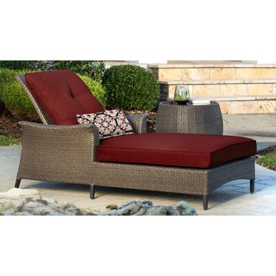 Gramercy Chaise Lounge & Table with Cushions Fabric: Red