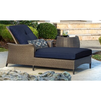 Gramercy Chaise Lounge & Table with Cushions Fabric: Navy Blue
