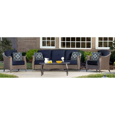 Gramercy 4 Piece Deep Seating Group with Cushions Fabric: Navy