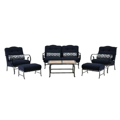 Oceana 6 Piece Deep Seating Group with Cushions Color: Navy Blue