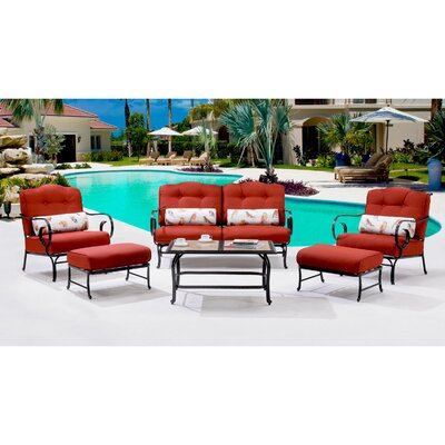 Oceana 6 Piece Deep Seating Group with Cushions Color: Crimson Red