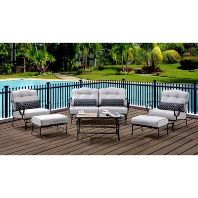 Oceana 6 Piece Deep Seating Group with Cushions Color: Silver Lining