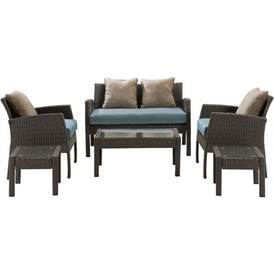 Chelsea 6 Piece Space-Saving Patio Set with Cushion Fabric: Ocean Blue