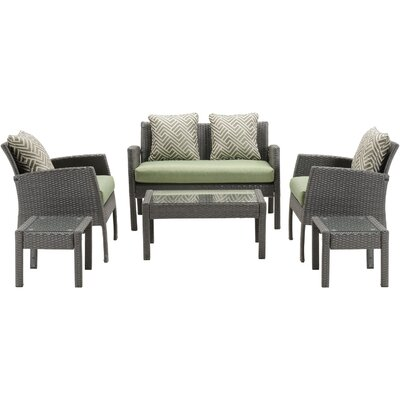 Chelsea 6 Piece Space-Saving Patio Set with Cushion Fabric: Cilantro Green