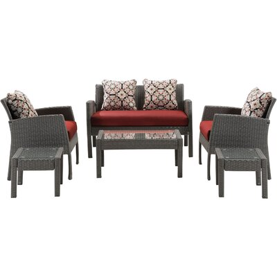 Chelsea 6 Piece Space-Saving Patio Set with Cushion Fabric: Crimson Red