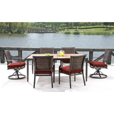 Mercer 7 Piece Dining Set with Cushions Fabric: Crimson Red