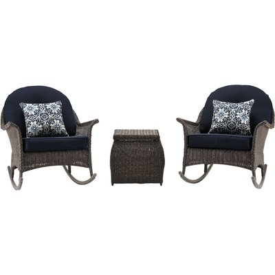 San Marino 3 Piece Rocker Seating Group with Cushions Fabric: Navy Blue