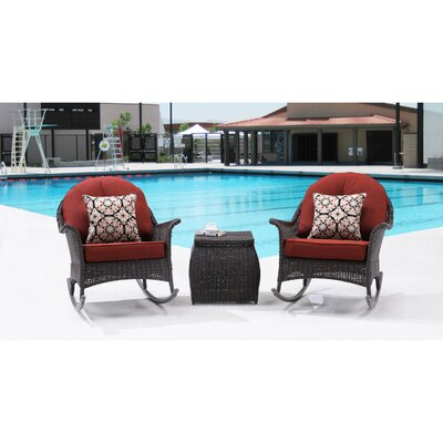 San Marino 3 Piece Rocker Seating Group with Cushions Fabric: Crimson Red