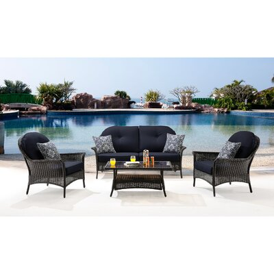 San Marino 4 Piece Deep Seating Group with Cushions Fabric: Navy Blue