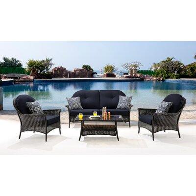 San Marino 4 Piece Deep Seating Group with Cushions Fabric: Navy Blue