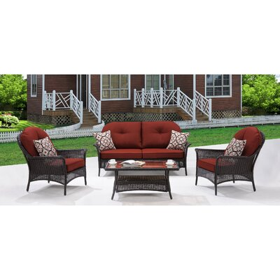 San Marino 4 Piece Deep Seating Group with Cushions Fabric: Crimson Red
