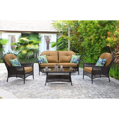 San Marino 4 Piece Deep Seating Group with Cushions Fabric: Country Cork