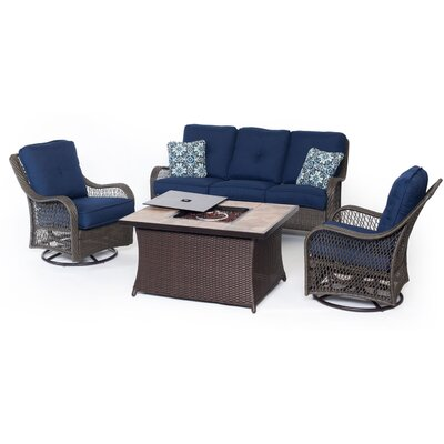 Hanover Orleans Woven 4 Piece Deep Seating Group with Cushion Fabric: Navy Blue