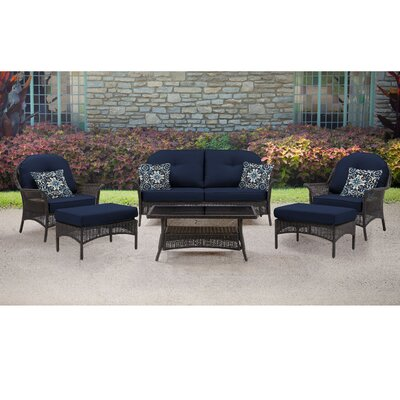 San Marino 6 Piece Deep Seating Group with Cushions Fabric: Navy Blue