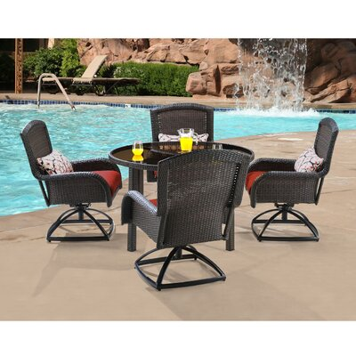 Hanover Strathmere 5 Piece Swivel Dining Set with Cushions