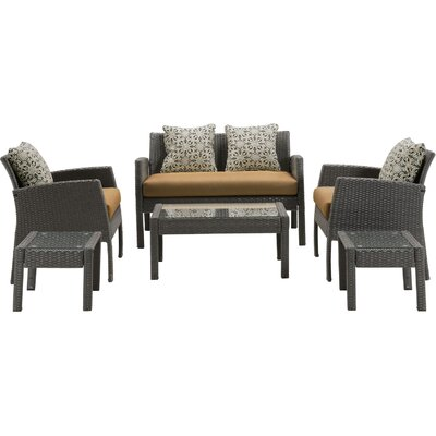 Chelsea 6 Piece Space-Saving Patio Set with Cushion Fabric: Country Cork