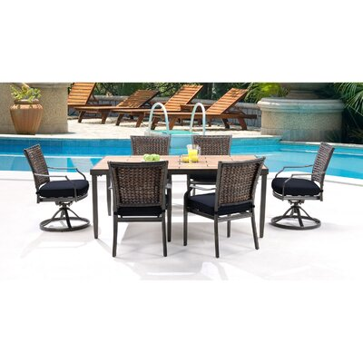 Mercer 7 Piece Dining Set with Cushions Fabric: Navy Blue