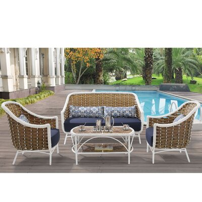Athens Hanover Outdoor 4 Piece Deep Seating Group with Cushion