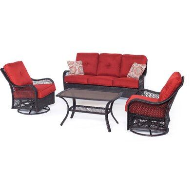 Orleans 4 Piece Deep Seating Group with Cushions Color: Autumn Berry