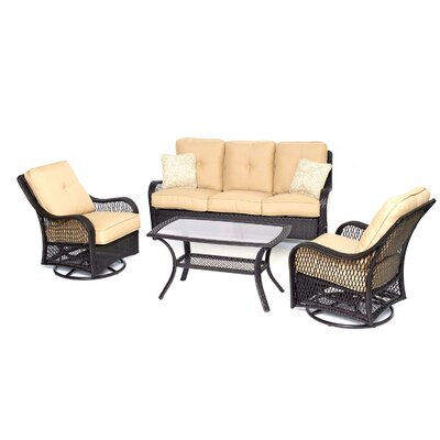 Orleans 4 Piece Deep Seating Group with Cushions Color: Sahara Sand