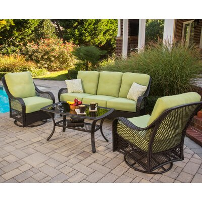 Orleans 4 Piece Deep Seating Group with Cushions Color: Avocado Green