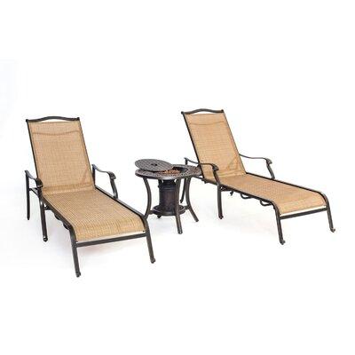 Monaco 3 Piece Chaise Lounge Chair Set