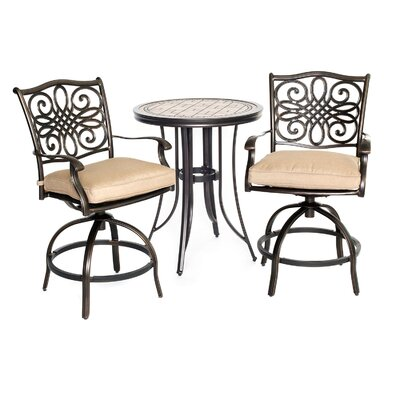 Monaco 3 Piece Bistro Set with Cushions