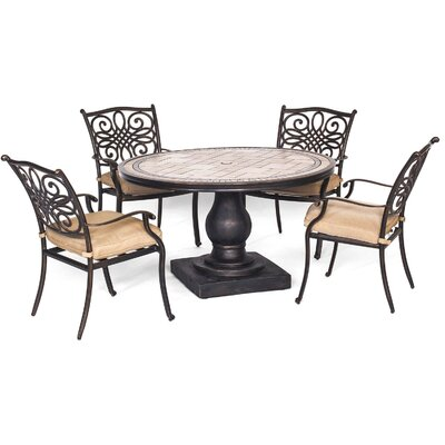 Monaco 5 Piece Dining Set with Cushions