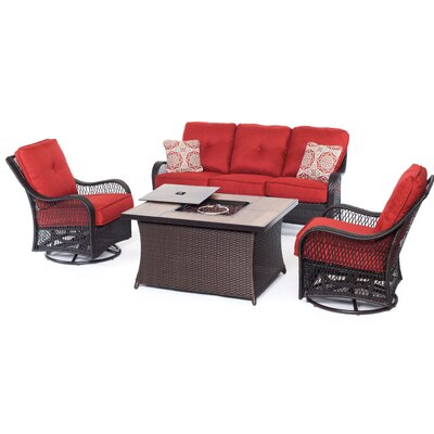 Orleans Woven 4 Piece Deep Seating Group with Cushions Fabric: Autumn Berry