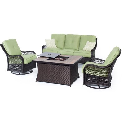 Orleans Woven 4 Piece Deep Seating Group with Cushions Fabric: Avocado Green