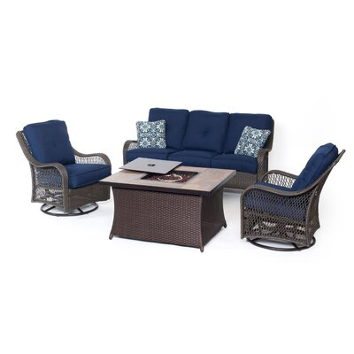 Orleans Woven 4 Piece Deep Seating Group with Cushions Fabric: Navy Blue