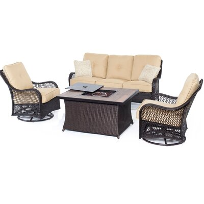 Orleans Woven 4 Piece Deep Seating Group with Cushions Fabric: Sahara Sand