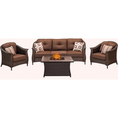 Gramercy 4 Piece Fire Pit Deep Seating Group with Cushions Fabric: Brown
