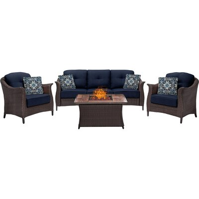 Gramercy 4 Piece Fire Pit Deep Seating Group with Cushions Fabric: Navy