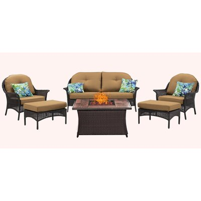 San Marino 6 Piece Fire Pit Lounge Seating Group with Cushions Fabric: Tan