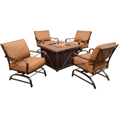 Stone Harbor 5 Piece Fire Pit Lounge Seating Group with Cushion