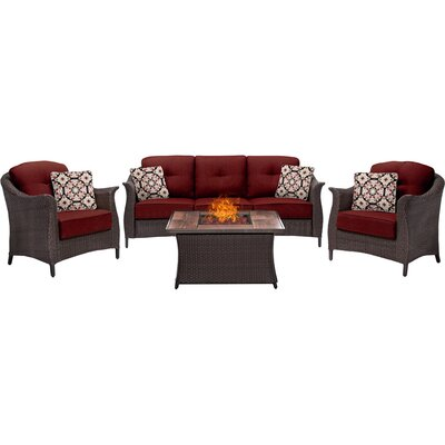 Gramercy 4 Piece Fire Pit Deep Seating Group with Cushions Fabric: Red
